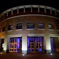 Blue Uplighting Outside - Orlando Museum of Art Wedding