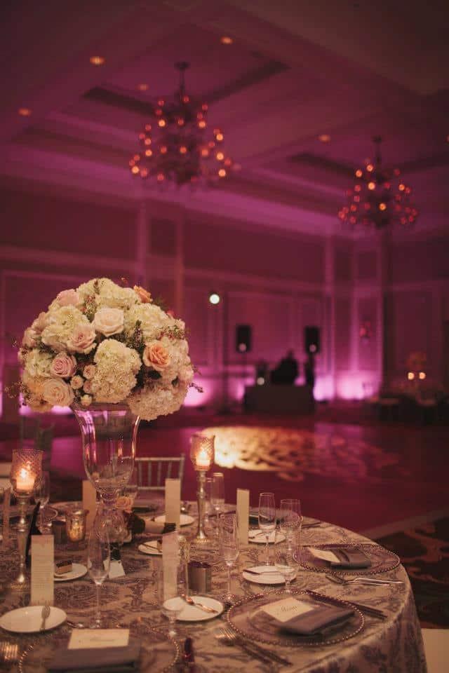 waldorf astoria wedding - pink uplighting - our dj rocks - orlando wedding uplighting - orlando wedding dj