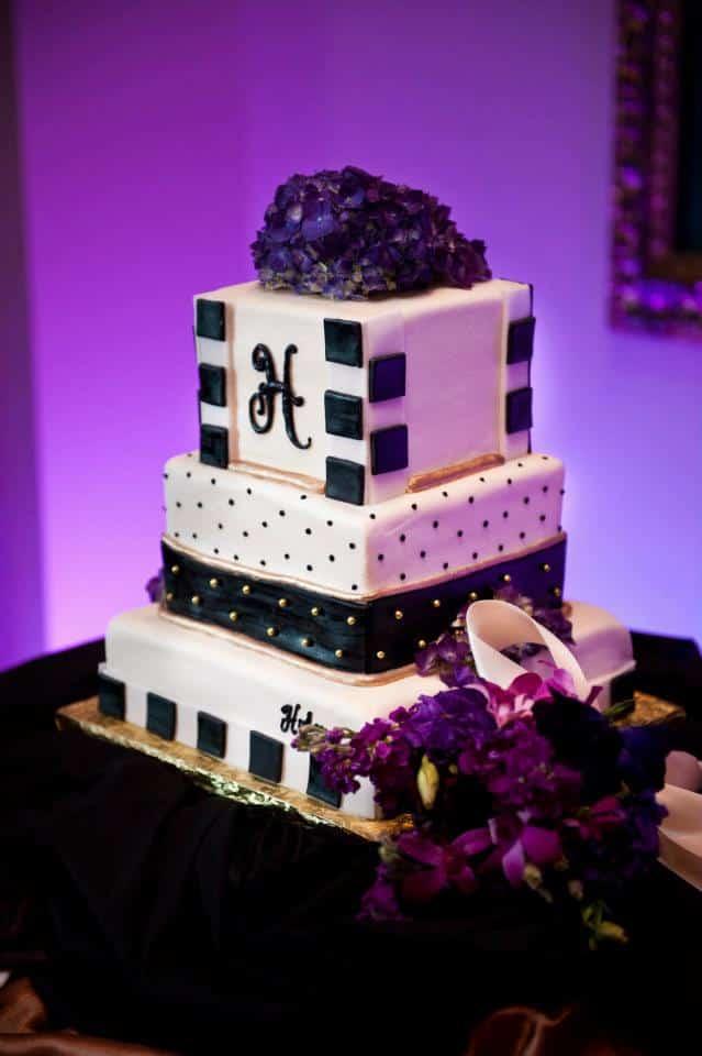 grand bohemian wedding - orlando wedding uplighting - purple uplighting - orlando wedding dj - our dj rocks - wedding cake uplighting