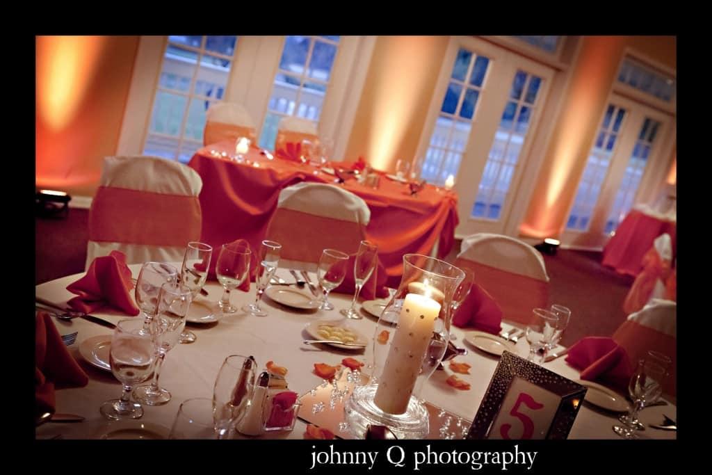 Orlando Wedding DJ - Tuscawilla Country Club wedding - Johnny Q Photography - orange uplighting
