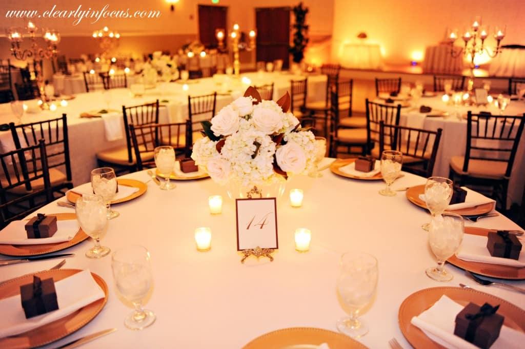 orlando wedding dj and uplighting - lake mary event center wedding - clearly in focus - amber uplighting