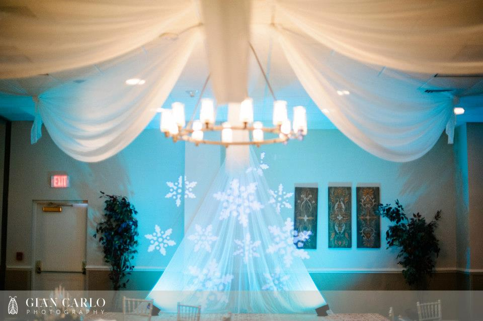 winter wedding - orlando wedding dj - orlando wedding uplighting - teal uplighting - our dj rocks - embassy suites altamonte springs wedding - gian carlo photography - snow flake monogram