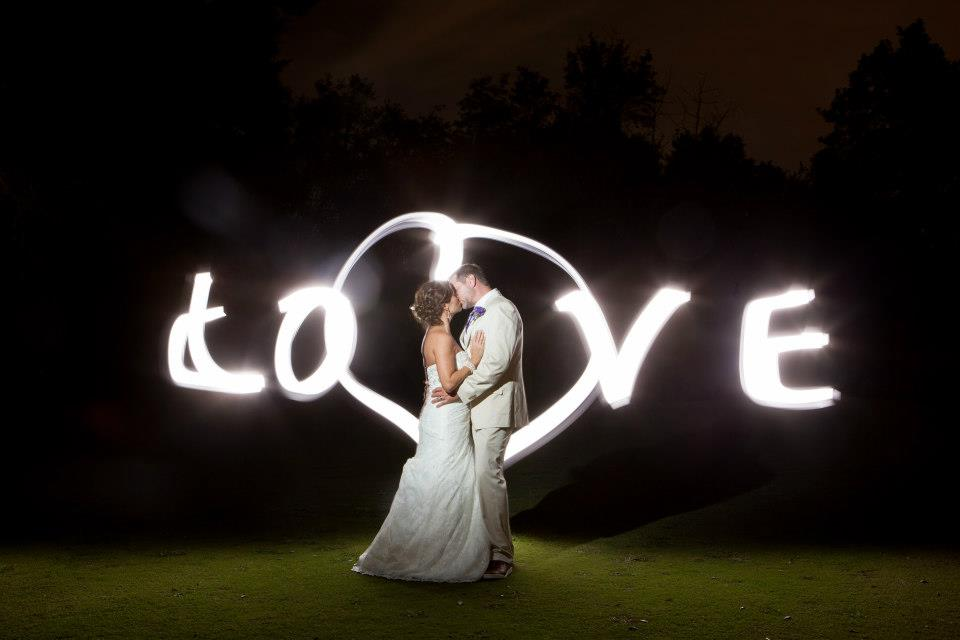 Final Kiss with lighting that speeled out LOVE in background