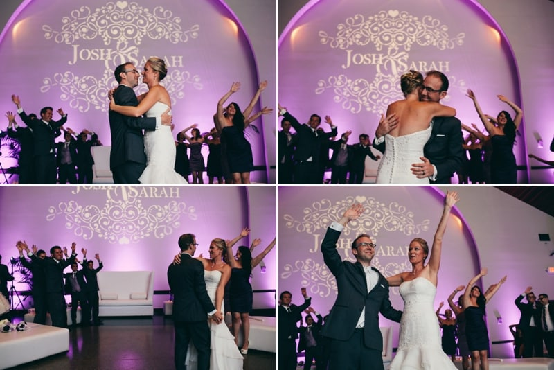 Bride and groom dancing to their first dance at Winter park civic center with purple uplighting and a customized monogram done by Our Dj Rocks