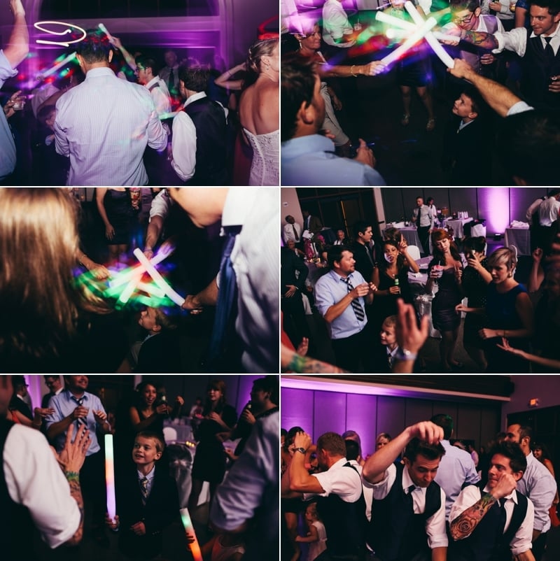 Open dancing starts at the reception at winter park civic center with purple uplighting and customized monogram done by Our Dj Rocks
