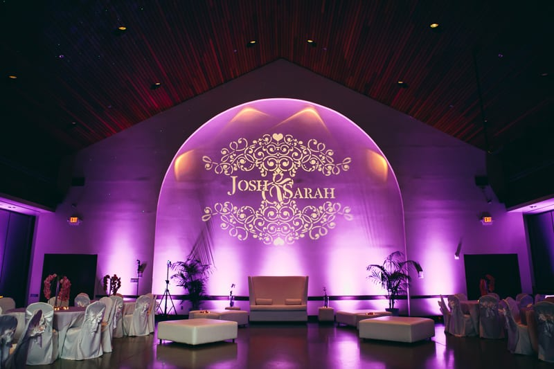 winter park civic center purple uplighting for wedding