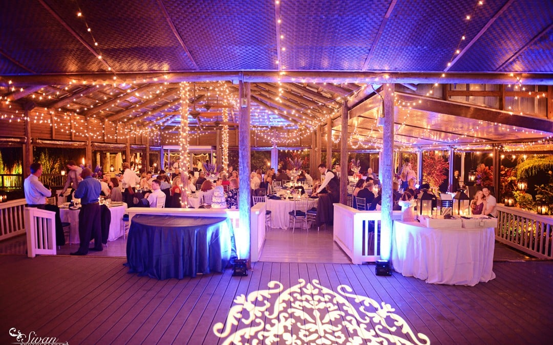 Paradise Cove Wedding Shire Blue Uplighting Kasey Chad