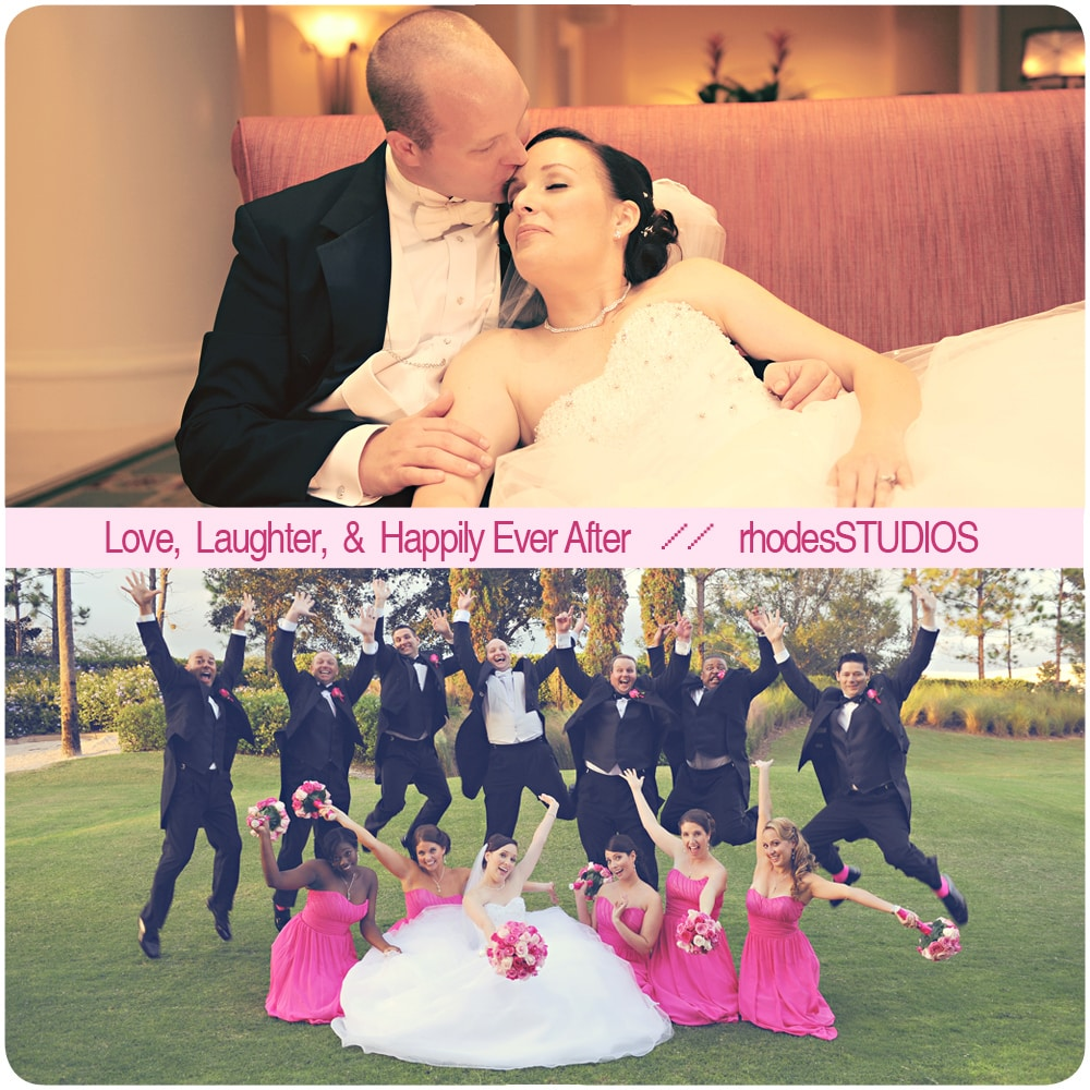 Groom and bride posting togetheur; groofy wedding party picture