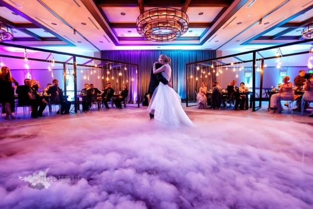 dancing on a cloud - wedding first dance - alfond inn wedding - purple and teal uplighting