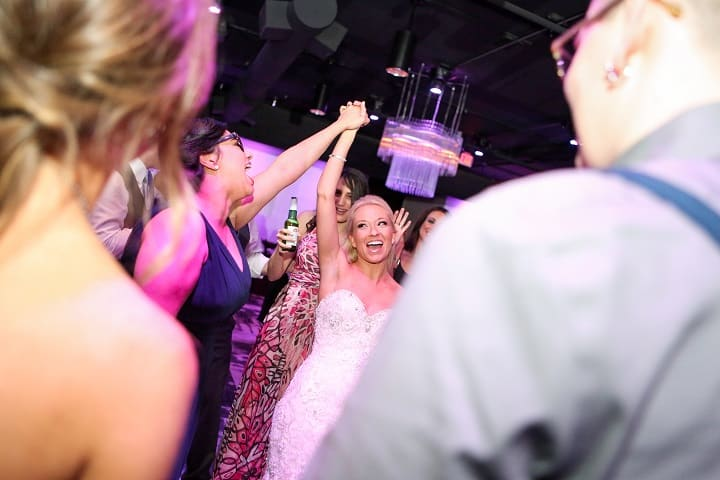 bride celebrating at her wedding-dancing at the mezz in downtown orlando wedding