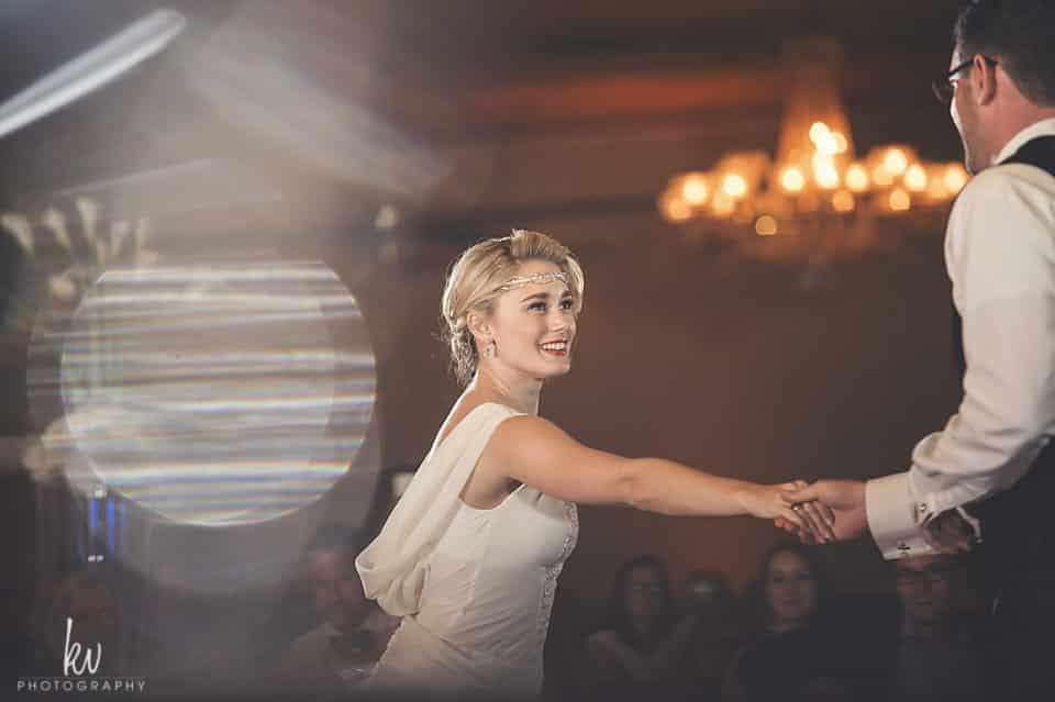 Our Bride and Groom on the dance floor at Orlando wedding venue ballroom at church street