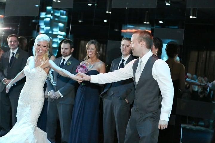 the mezz downtown orlando wedding  bride and groom dancing