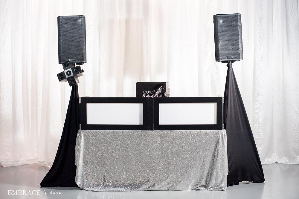 white on black table top dj facade