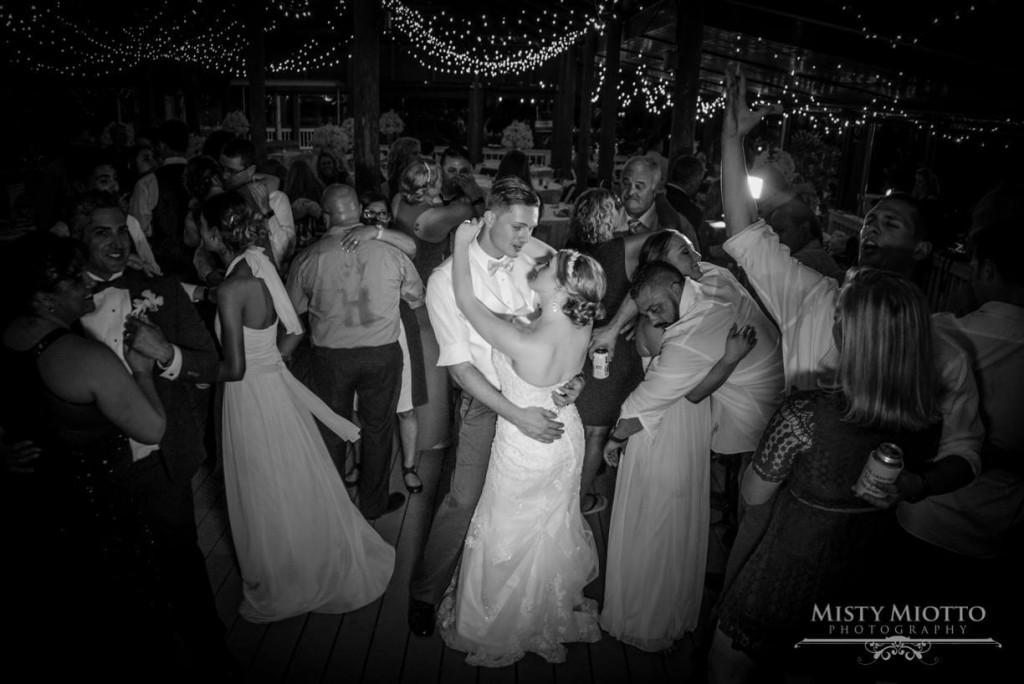 Bride and groom dancing at paradise cove dancefloor