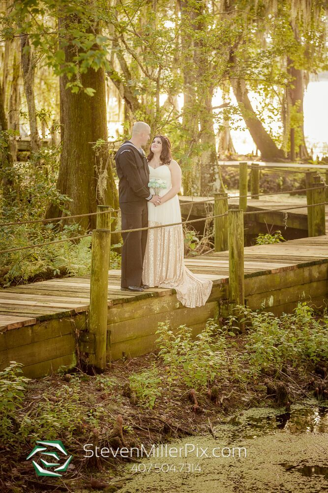 steven miller photography Outdoor wedding photo. Bride and Groom. Wedding photo on wooden walkway.