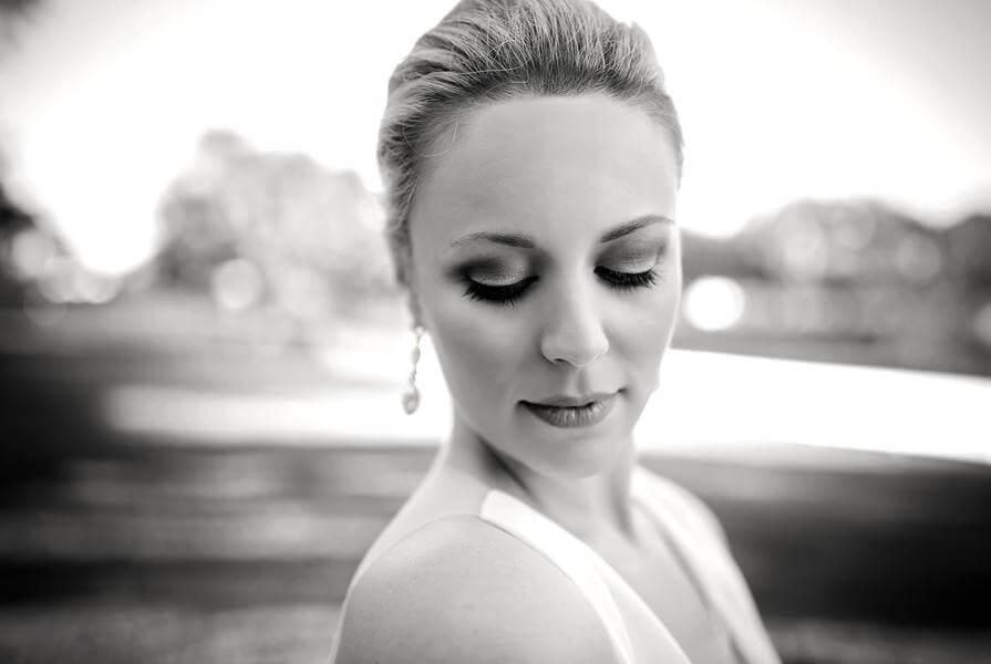 Bride makeup shot at wedding at Highland Manor