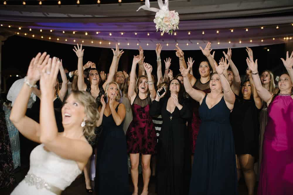 cypress grove wedding reception bouquet toss