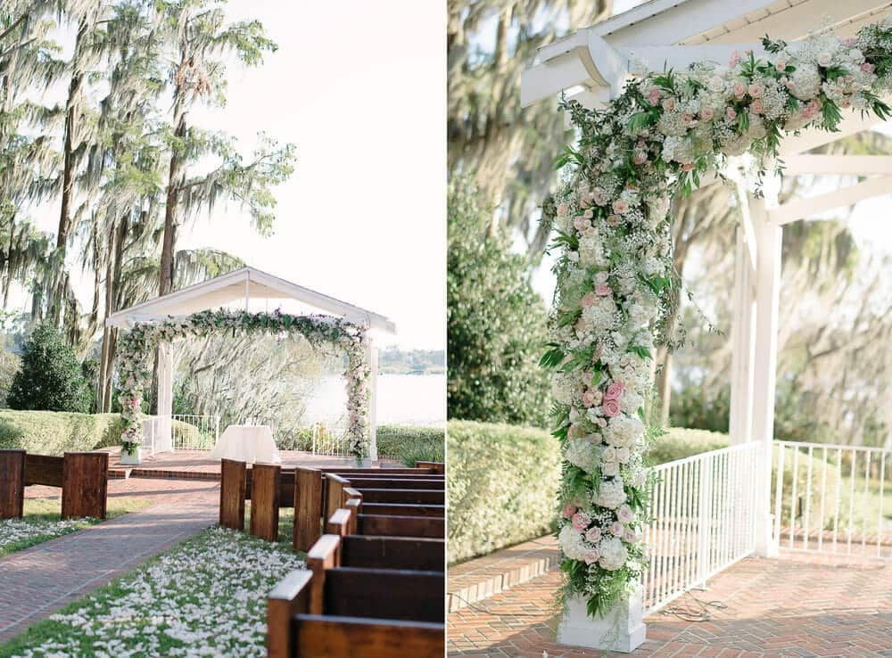 Cypress Grove ceremony venue with floral gazebo and wooden guest seats