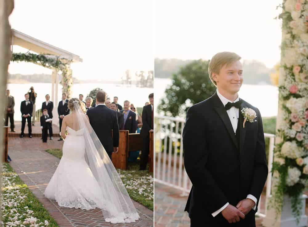 Cypress grove wedding ceremony bride with lace trumpet wedding dress walking down aisle and groom waiting