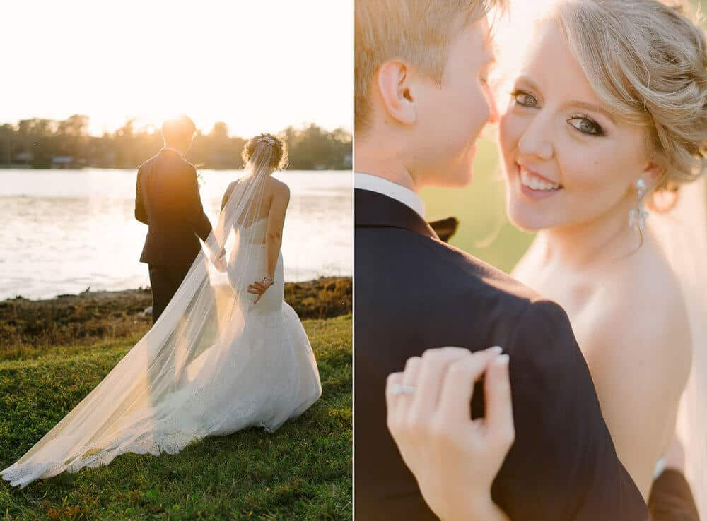 cypress grove wedding bride and groom watching sunset in white lace wedding dress and black tuxedo