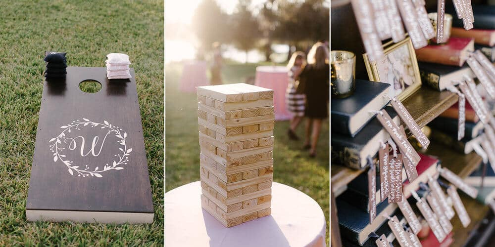 cypress grove wedding cocktail hour games corn hole and jenga