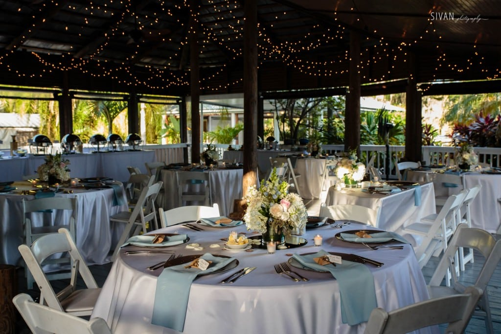 Paradise Cove wedding reception area. Wedding table settings.
