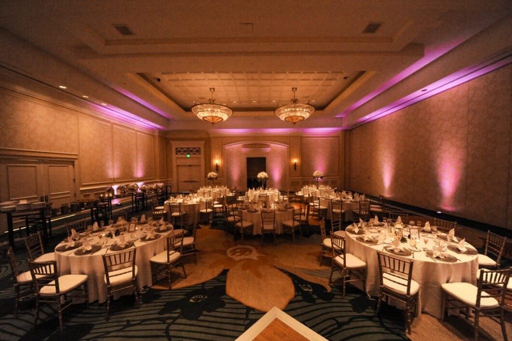 orlando wedding dj Omni Champions Gate wedding with pink uplights