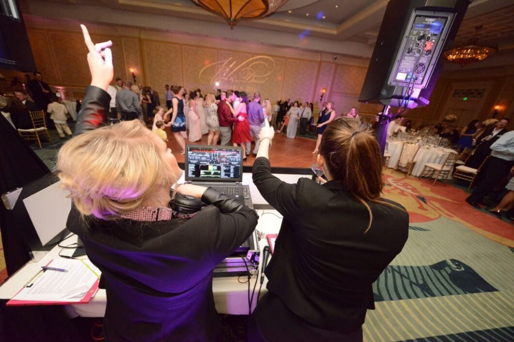 orlando wedding dj Our DJ Rocks founder, Kristin Wilson, DJ'ing wedding at Omni Champions Gate orlando wedding dj female dj