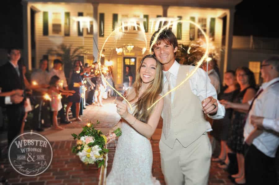 Bride and groom with sparkler heart. Lace wedding dress. Tan tuxedo. Grand sparkler wedding exit.