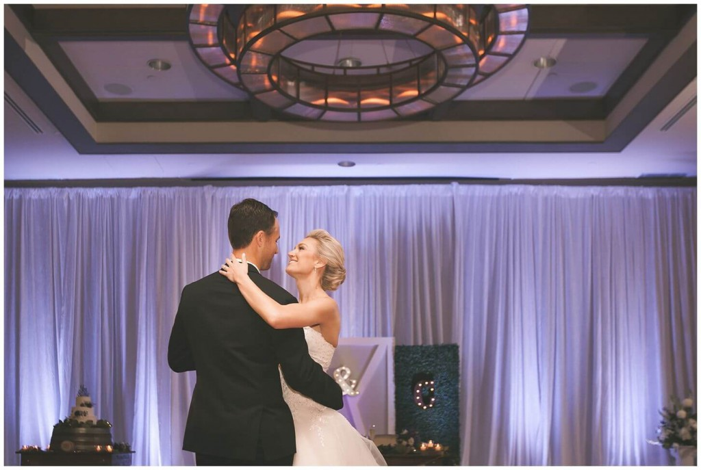 Alfond Inn wedding couple first dance with light purple uplighting in background