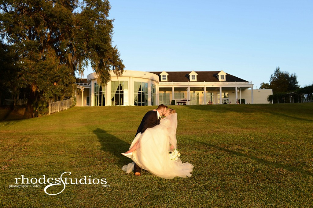 Lake mary events center wedding bride and groom on the lawn