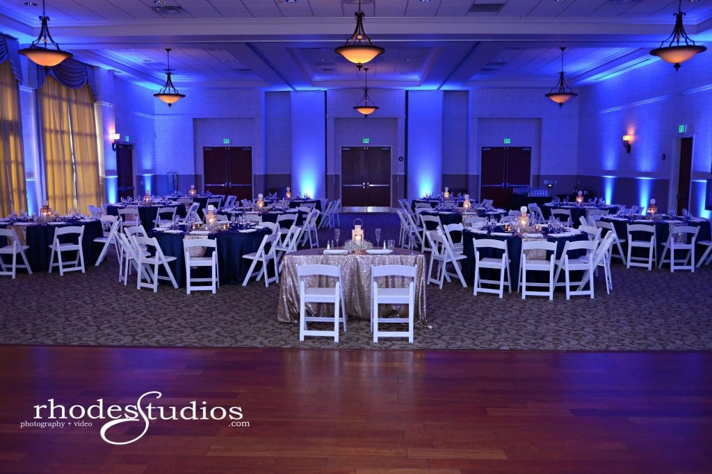 Lake mary events center wedding reception with royal blue uplighting