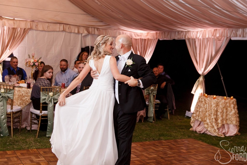 Private residence outdoor tent wedding bride and groom first dance