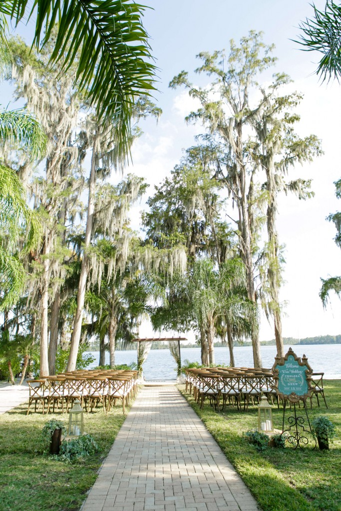 Paradise Cove Wedding ceremony set up by lake
