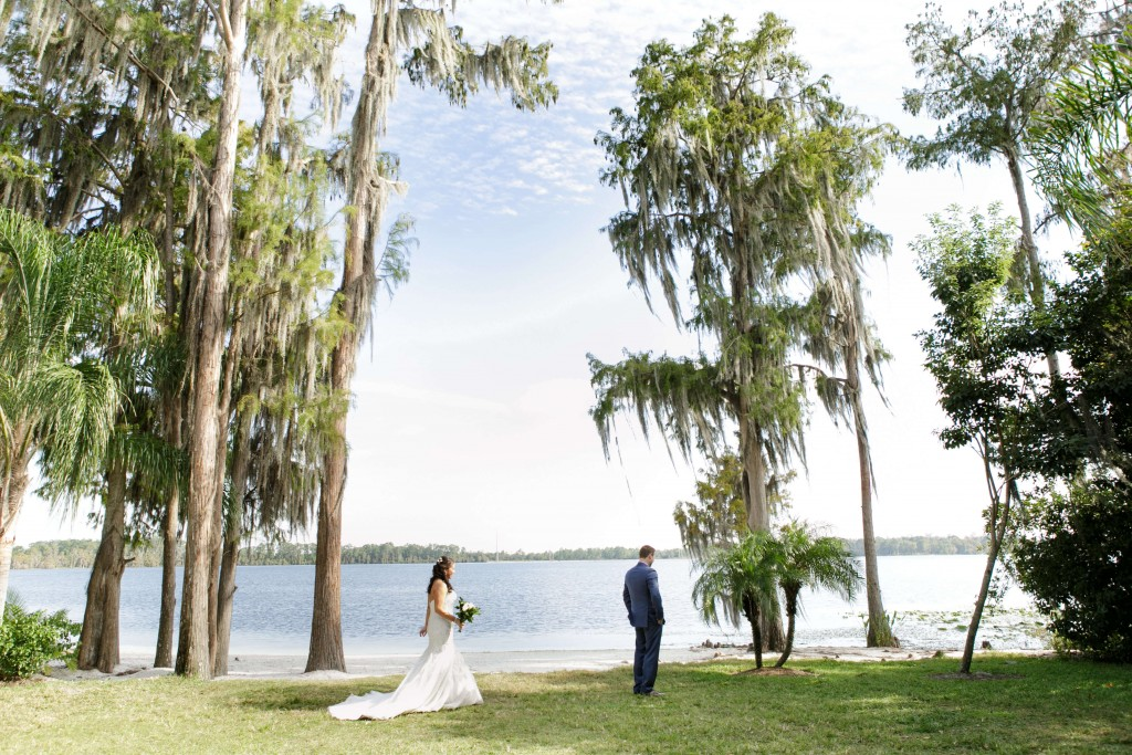 Paradise Cove Wedding bride and groom by lake
