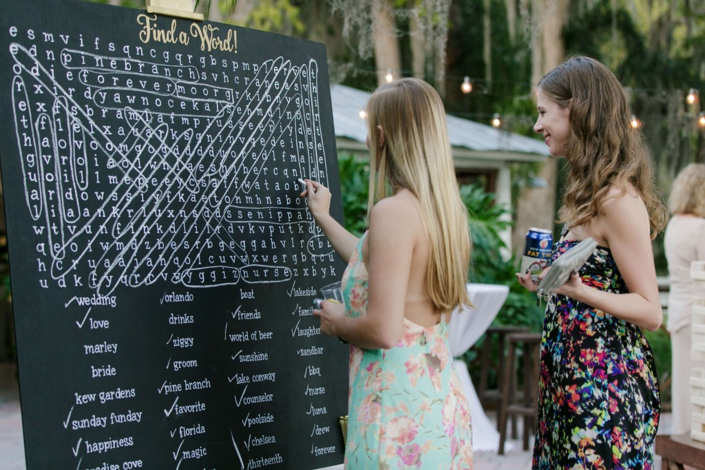 Paradise Cove Wedding word search board