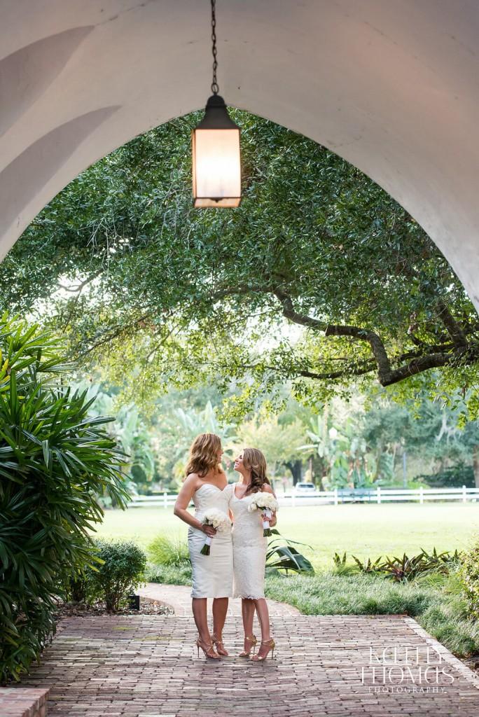 Casa Feliz same sex wedding brides wearing short wedding dresses