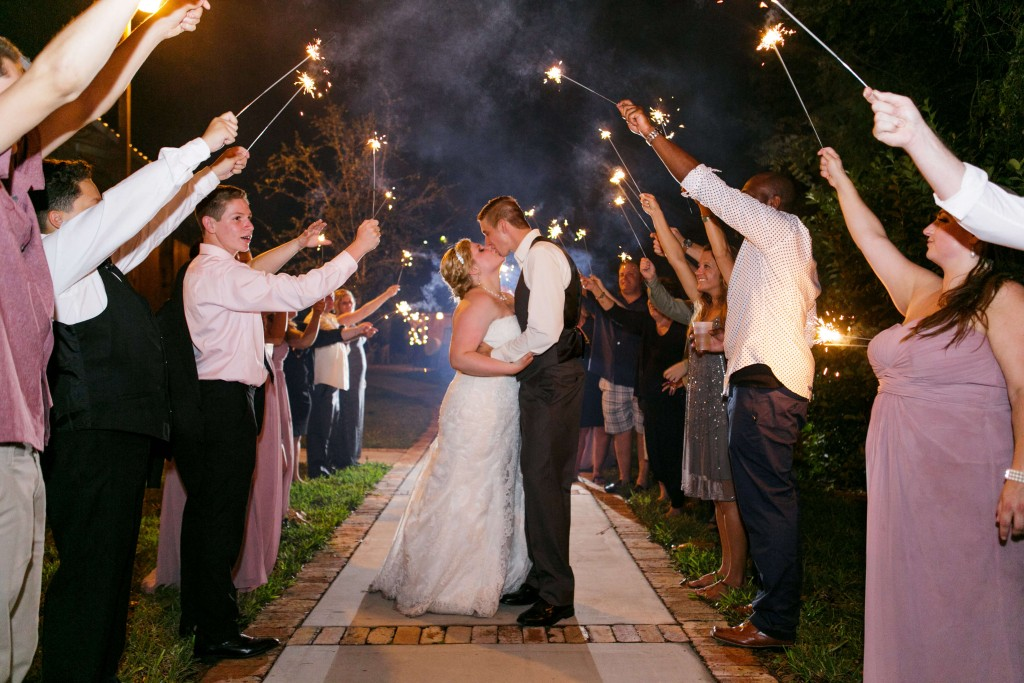 Delamater House wedding bride and groom grand sparkler exit