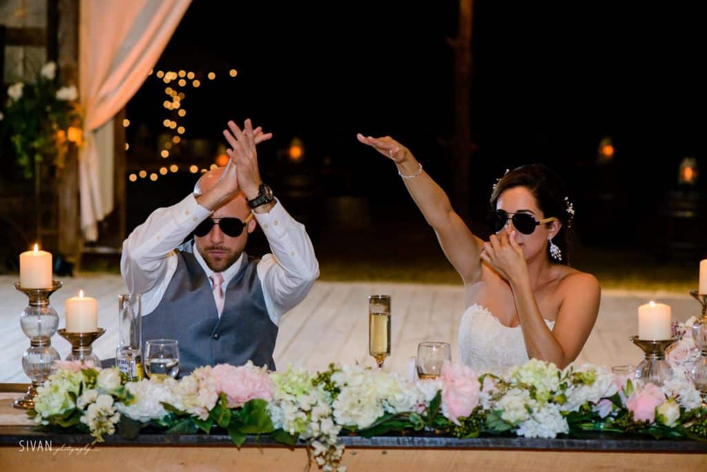3M Ranch wedding couple with sunglasses acting thug