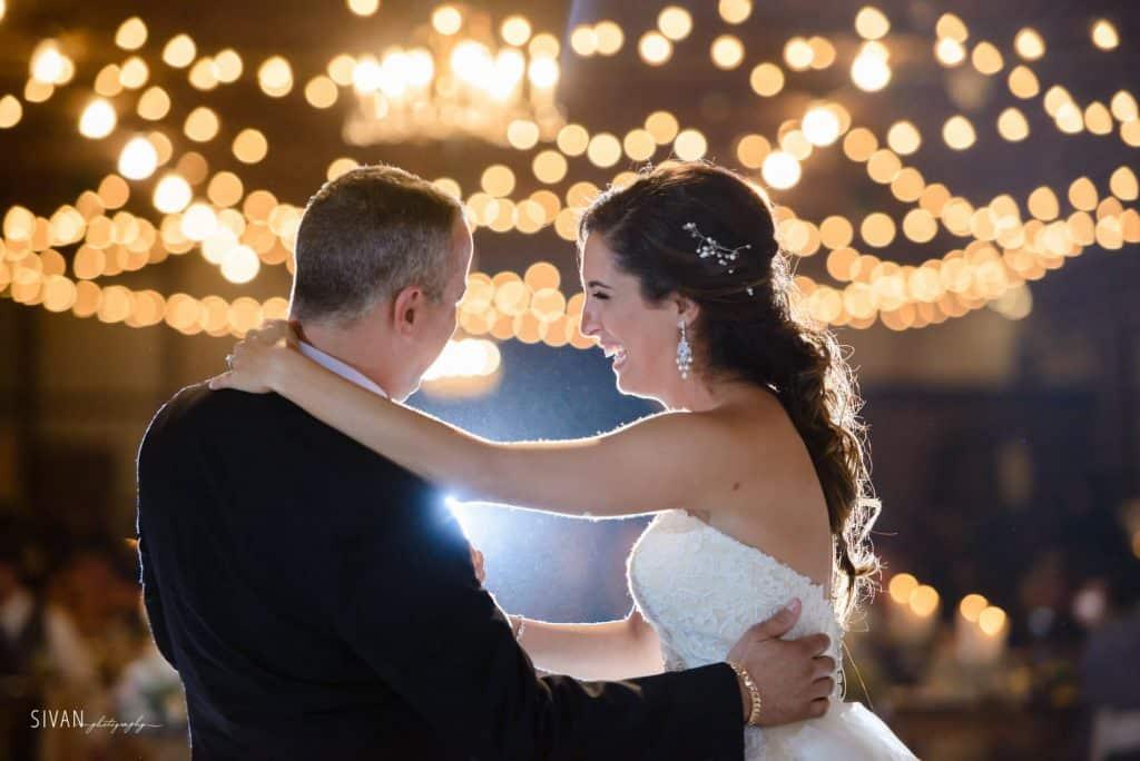 3M Ranch wedding father daughter dance under market lighting