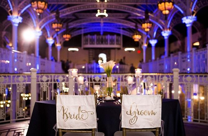 Orchid Garden Wedding – Royal Blue Uplighting – Orlando Wedding DJ