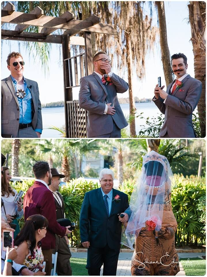 DJ Entertainment at Paradise Cove wedding groom surprised by dinosaur bride