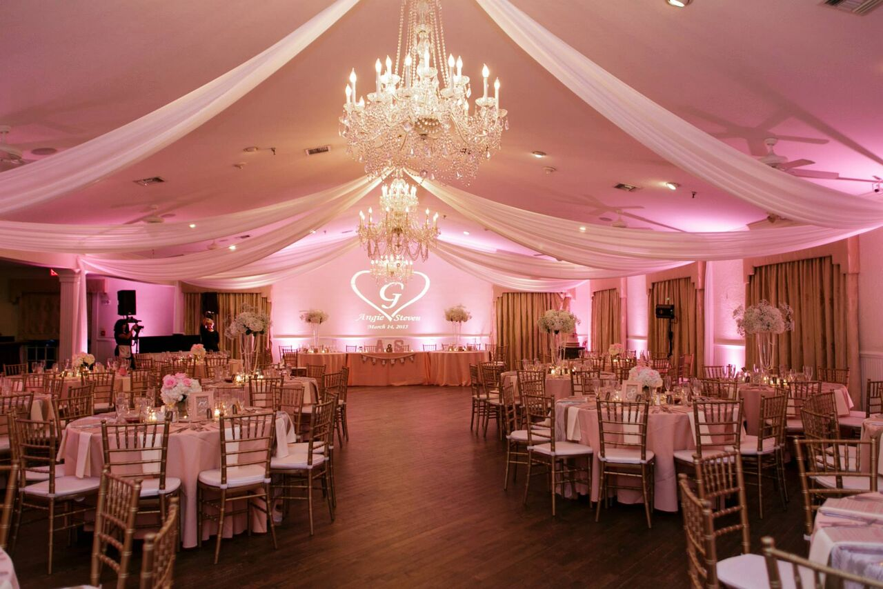 Orlando wedding - Highland Manor reception area with blush pink uplighting