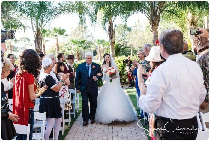 DJ Entertainment at Paradise Cove wedding ceremony with bride walking down aisle with father