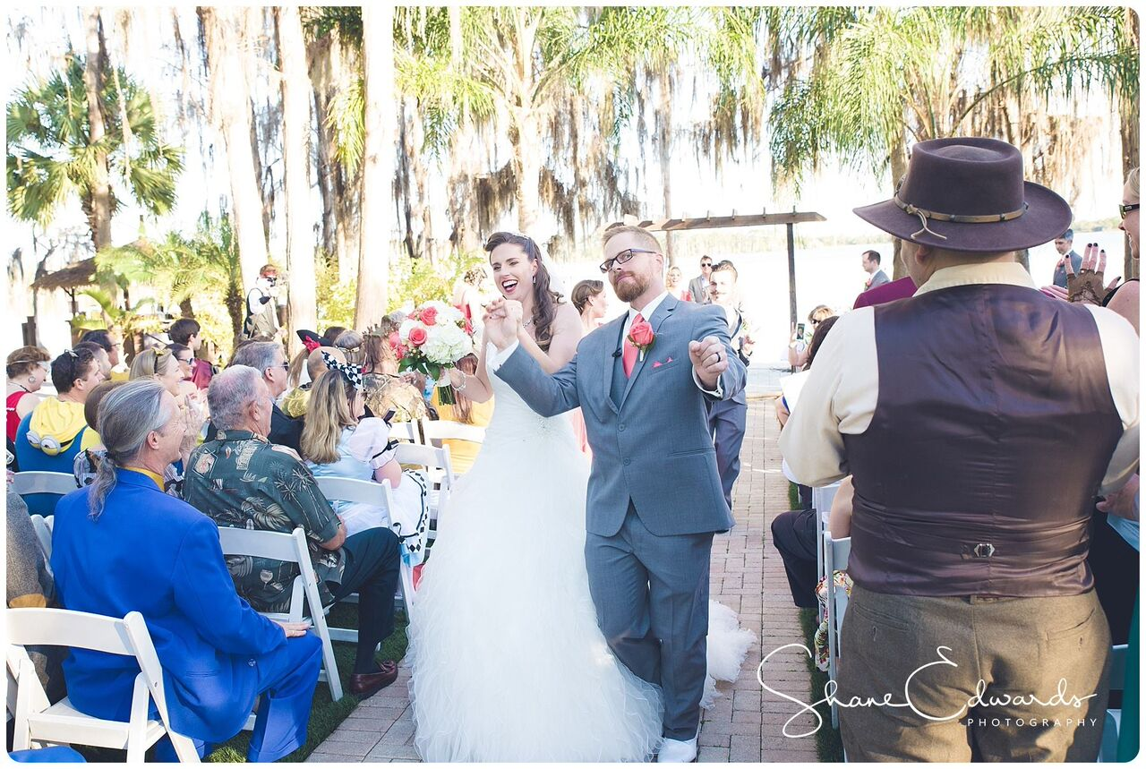 DJ Entertainment at Paradise Cove wedding bride and groom walk down aisle