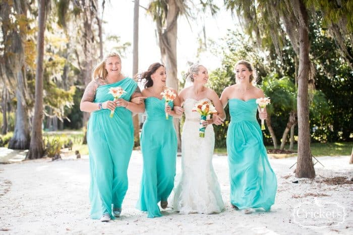 DJ in Orlando at Paradise Cove wedding bride and her bridesmaids in teal