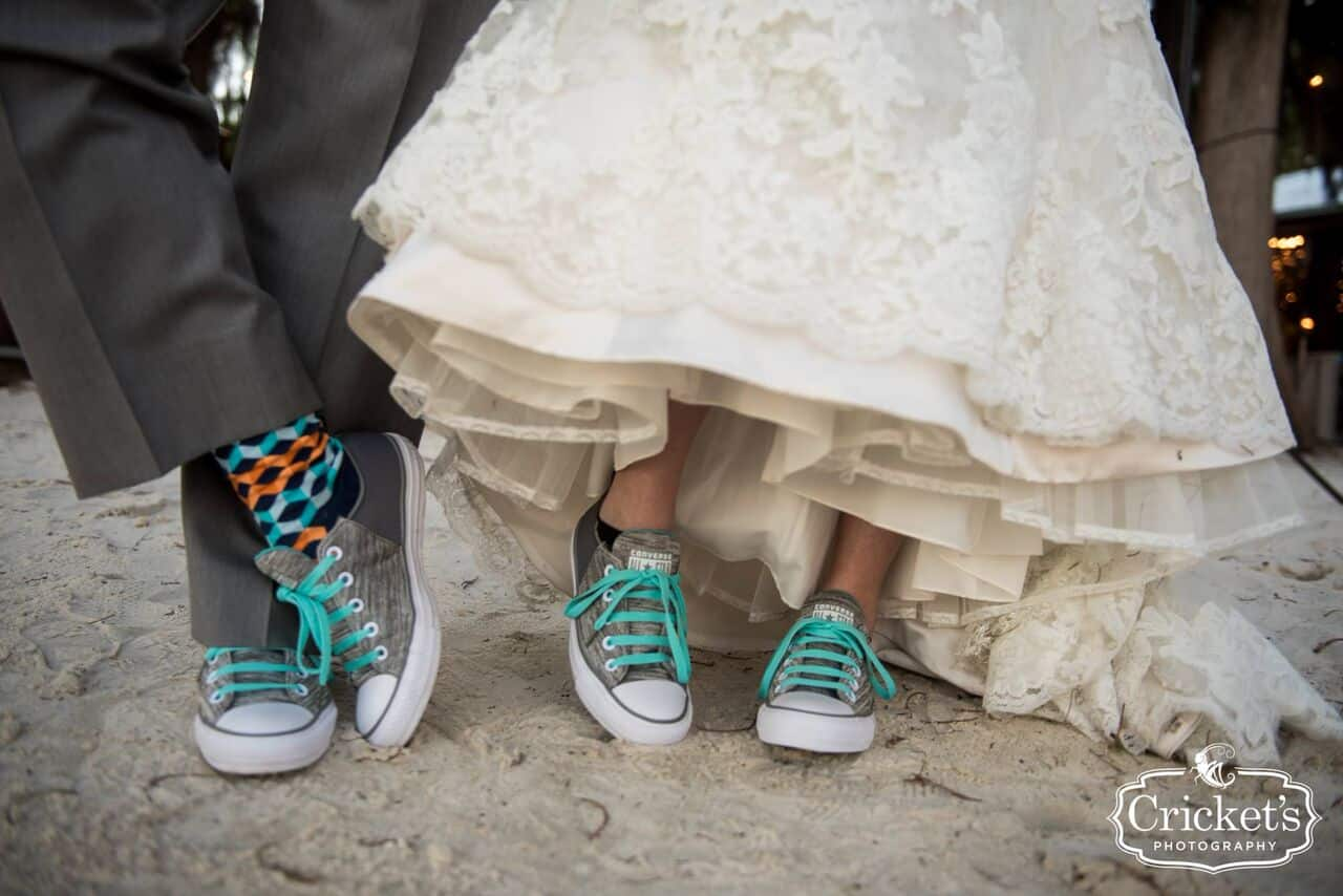 DJ in Orlando at Paradise Cove wedding  shoes with teal laces
