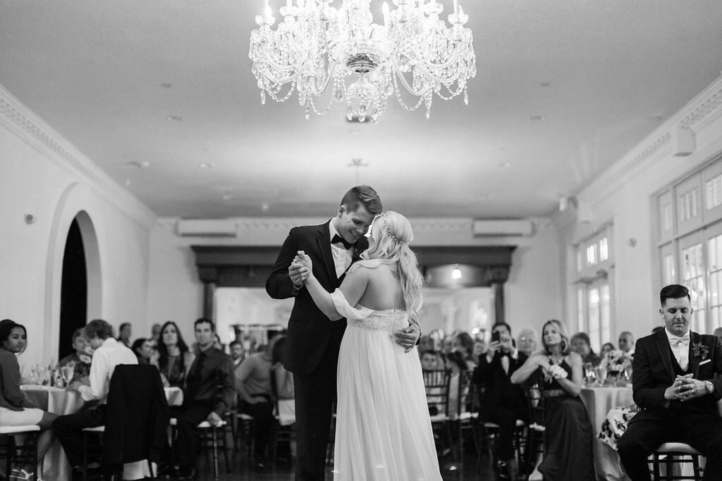 experienced orlando wedding dj at Luxmore Grande Estate wedding couples first dance