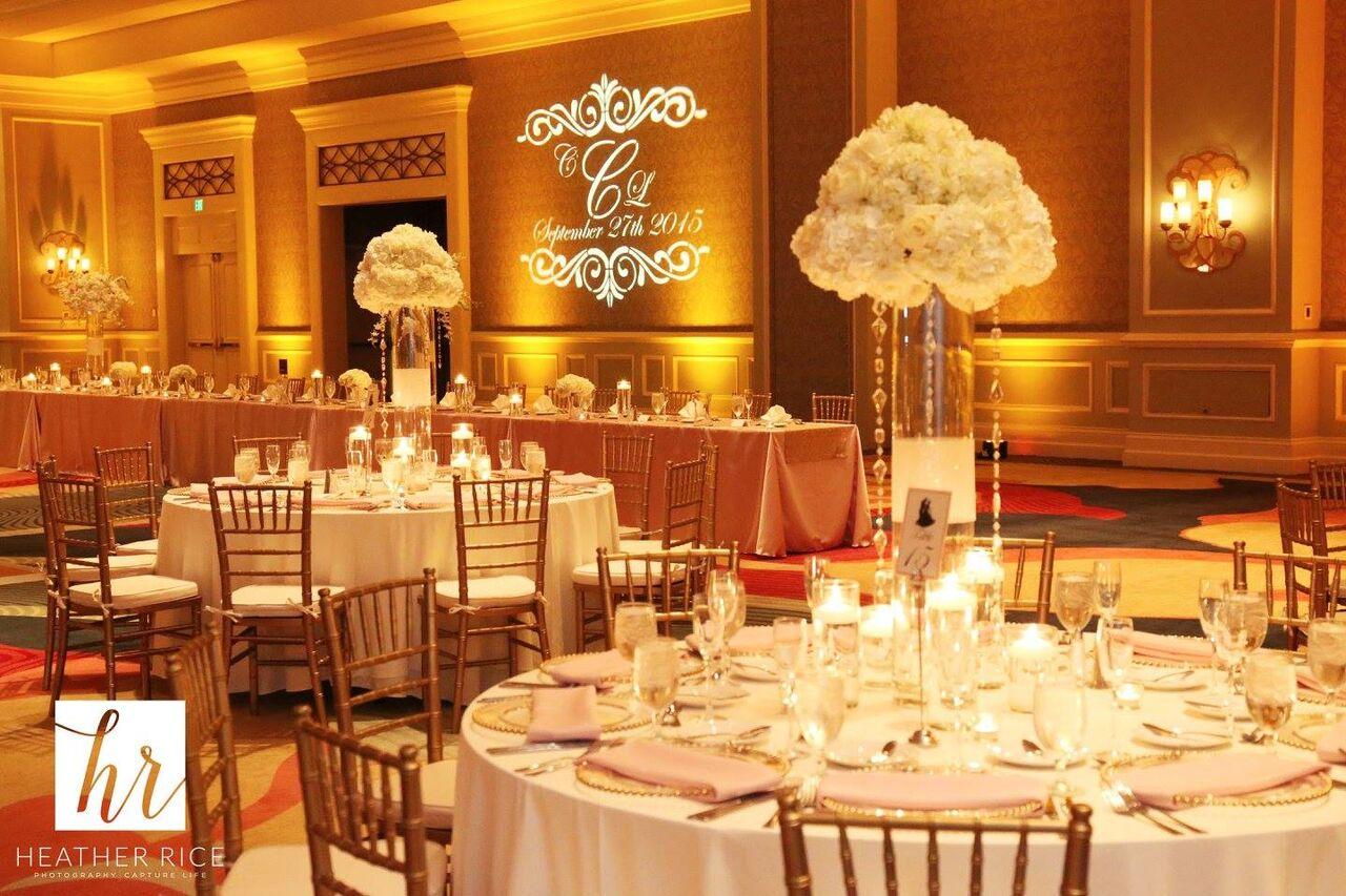 Orlando Wedding - Omni Champions Gate reception area with yellow uplighting