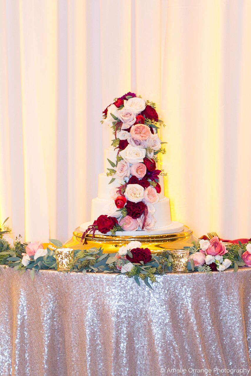 Orlando wedding at Mission Inn Resort cake with white, pink, and red flowers